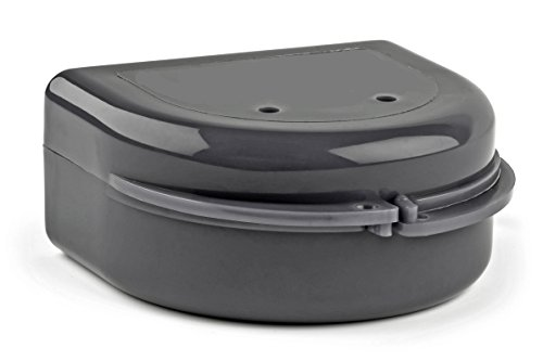 Snap Lock Retainer Case; Stealth Black. BPA free, sturdy & made in the USA. Design works with most dental health care products, such as nightguard, retainer, invisalign, hockey & sport mouthguard.