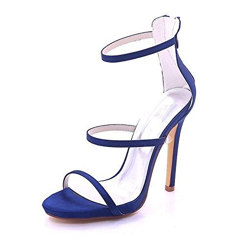 la festa Stiletto sandali aperta Scarpe Heel Estate la donna nozze punta Primavera base Silver per rosso royal fibbia della raso ZHZNVX porpora sera pompa blu di azATqq
