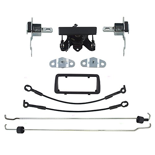 Tailgate Handles & Bezels w/Latch Cable Rod Bed Side Hinges Kit Pair Set Replacement for 94-04 Chevrolet S10 GMC Sonoma Pickup Truck