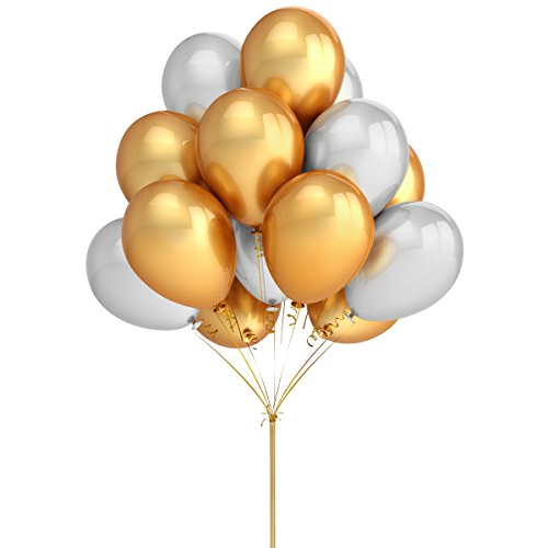 party balloons decoration100 pack 12 inches gold silver balloons for christmas holiday new years wedding birthday baby shower party decoration supplies - Decorating With Silver And Gold For Christmas