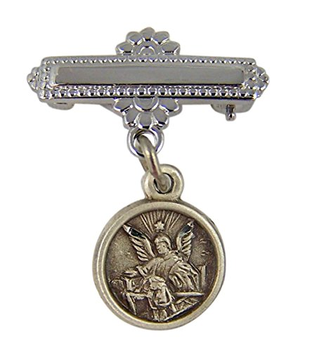 Sterling Silver Religious Guardian Angel Medal Baby Bar Pin, 1 Inch