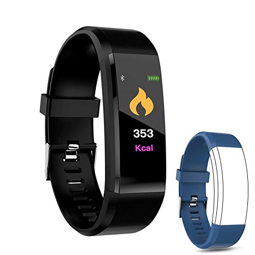 IULONEE Fitness Tracker Smart Watch, Activity Tracker IP67 Waterproof, Smart Bracelet Pedometer Watch with Heart Rate Blood Pressure Monitor Sleep Calorie Step Counter for Women Men and Kids (Black) ()
