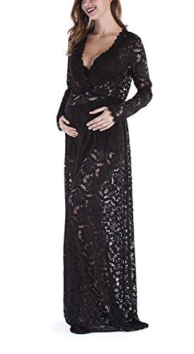 Yomoko Women Sexy Deep VNeck Lace Maternity Photography Maxi Dress