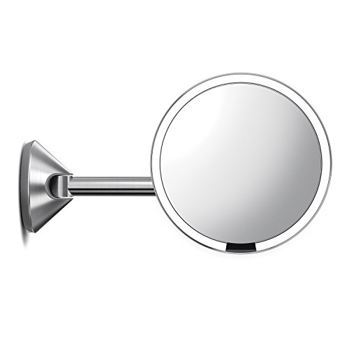 410a281Fy0L - simplehuman 8 inch Wall Mount Sensor Mirror, Lighted Makeup Mirror, Hard-Wired, 5x Magnifying