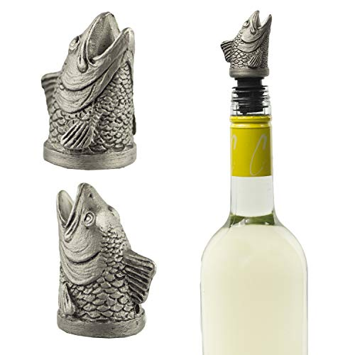 Stainless Steel Fish Wine Pourer, Aerator and Decanter - Perfect Pour Spout for Red, White and Rose Wine, Liquor and Olive Oil!