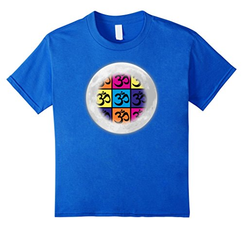 unisex-child Full Moon Pop Art Om Yoga Tshirt 8 Royal Blue
