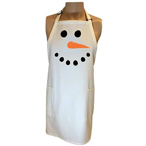 Snowman Face Apron with 2 patch pockets - One Size