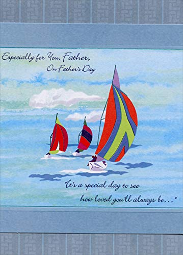 Designer Greetings Three Sailboats with Colorful Sails Father's Day Card for Father ()