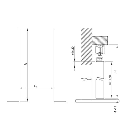 Schiebet/ürbeschlag SLIDUP 170 Erg/änzungsset 120 kg 1 T/ür