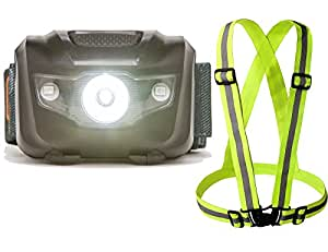 LED Running Headlamp with Reflective Vest – Adjustable headlight best for walking, camping, cycling or jogging – Bonus safety vest for high visibility – Head flashlight with 3 AAA Batteries