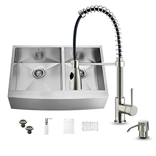 VIGO 36 inch Farmhouse Apron 60/40 Double Bowl 16 Gauge Stainless Steel Kitchen Sink with Brant Stainless Steel Faucet, Two Grids, Two Strainers and Soap Dispenser