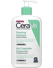 CeraVe Gel Limpiador Espumoso |473ml| Limpiador diario para piel mixta, grasa o con acné | Libre de fragancia