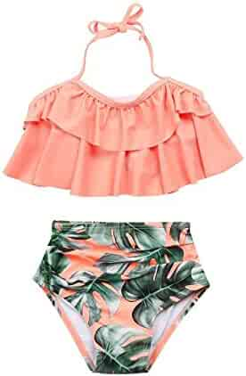 VITryst Kids Cute Princess Swim Dress Backless Plaid Bikini Swimsuits