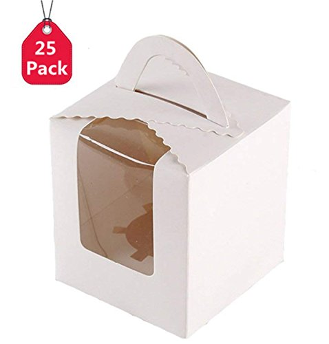 25 Pcs Single Cupcakes Containers Gift Boxes with Window Inserts Handle for Wedding Candy Boxes