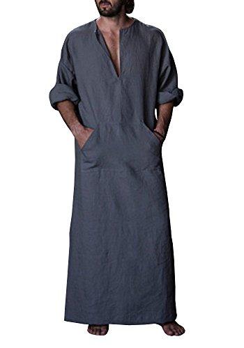 Karlywindow Men's Abaya Muslim Thobe Thoub Abaya Robe Islamic Arab Kaftan (Medium, Dark Grey) by Karlywindow (Image #2)
