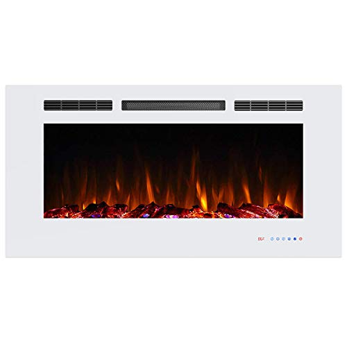 Valuxhome Armanni 42 Inches Recessed Electric Fireplace Heater 1500W with Remote Control, Timer, Thermostat, White (Electric Fireplace 42 Inch)