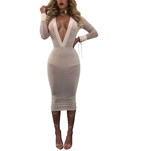 Women's Girls Sexy Deep V-neck Lace Up Mesh See Through Bodycon Bandage Party Club Midi Dress White M (Mesh Lace Up Dress)