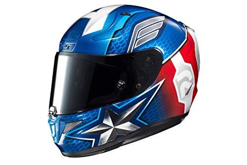 HJC Unisex-Adult Full Face RPHA-11 PRO Marvel Captain America Motorcycle Helmet (Red/White/Blue, Large) (Helmet Motorcycle Captain America)