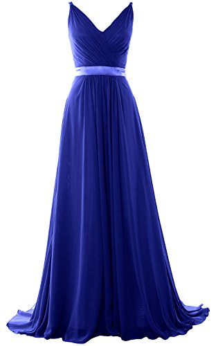 Bridesmaid Neck Royal Blue Mid Formal Open Women Back MACloth Gown Long Evening Dress V HBAw0