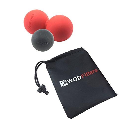 WODFitters Massage Ball Set (Red Peanut Black Lacrosse Ball, Peanut / Lacrosse Set)