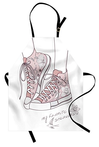 Lunarable Doodle Apron, Shoes with Floral Pattern Teenage Girls Sneakers Flowers and Birds Retro Urban, Unisex Kitchen Bib with Adjustable Neck for Cooking Gardening, Adult Size, Rose