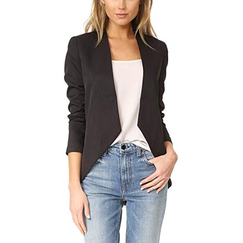 Jessica CC Women's 3/4 Sleeves Open Front Blazer Jacket Work Office Casual Blazer Suit with Pockets (Small, Black-1)
