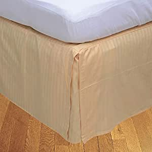 Brightlinen Peach King (150 X 200 Cm) Box Pleated Bedskirt Stripe (drop Length: 30 Cms) 1pcs