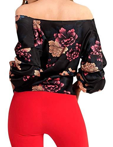 Nues Longues Branch Fit Fleur Haut Bandage Noir Blouse V Slim Top Cou paules Chemise Bowknot Mode Elgante Femme Chic Impression Manches Casual Printemps Blouse zUXXRPnax