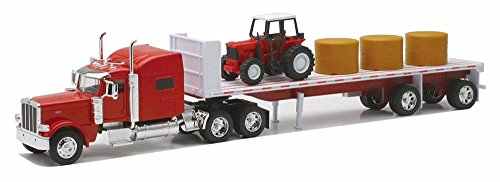 Peterbilt T389 Flatbed w/ Farm Tractor & Hay Bales, Red - New Ray 10293A - 1/32 Scale Model Tractor - Hay Trailer