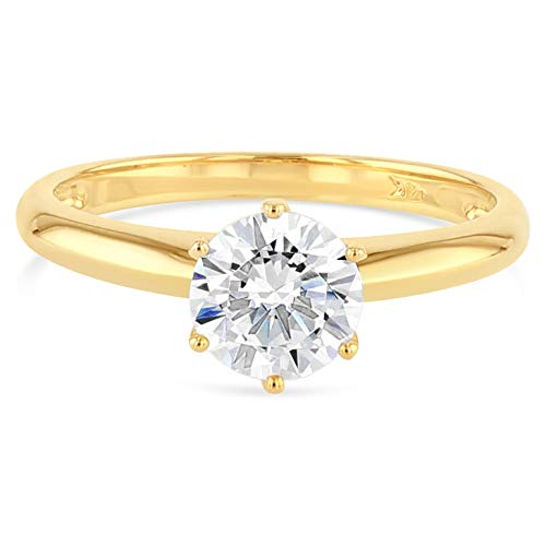 (Ioka - 14K Solid Yellow Gold 1 Ct. Round Solitaire CZ Engagement Ring - Size 5.5)