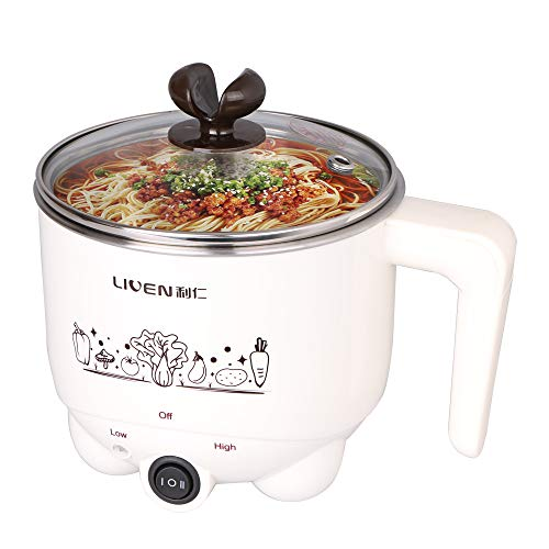 1L Liven Electric Hot Pot with 304 Stainless Steel Healthy Inner Pot, Cook Noodles and Boil Water Eggs Easy,Small Electric Cooker 600W 120V HG-X1007 by LIVEN