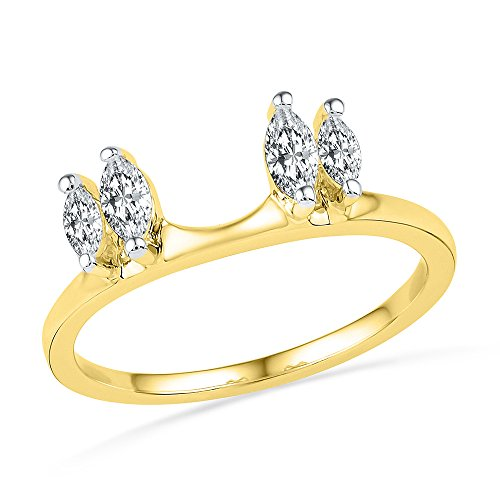 14kt Yellow Gold Womens Oval Diamond Ring Guard Wrap Solitaire Enhancer 1/2 Cttw