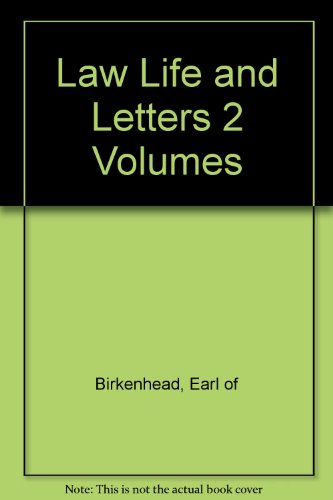 Law Life and Letters 2 Volumes