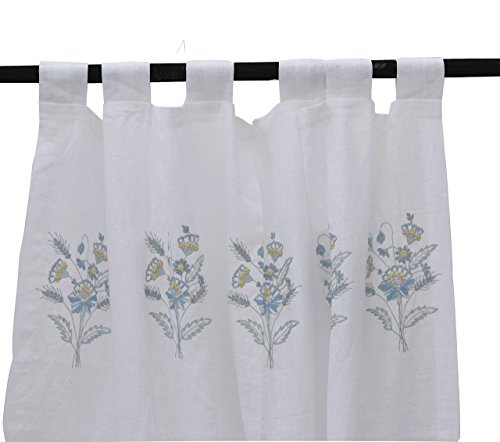 Amore Beaute Handcrafted Linen Curtain With Flower Embroidery, Sheer Linen Window Treatment