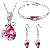 Valentine Gift by Shining Diva Pink Crystal Combo Jewellery of Pendant Necklace Set with Earrings and Bracelet for Girls and Women(vgcmb218)