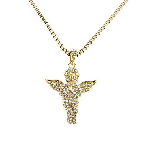 1 pcs Fashion Pure Gold Color Chain Angel Necklace Wings Crystal Pendant Alloy Chain Necklace Wedding Gifts for Women,Little Angel