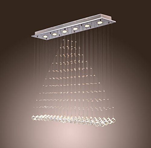 Saint Mossi Crystal Rain Drop Chandelier Modern & Contemporary Ceiling Pendant Light 6 GU10 LED Bulbs Required H39″ X W8″ X L39″