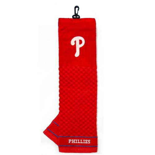 Team Golf MLB Philadelphia Phillies Embroidered Golf Towel, Checkered Scrubber Design, Embroidered Logo