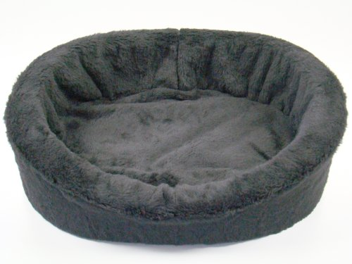 Small Black Fur Dog Bed King Pet Bed. Size: 20x16x7. Made in the USA., My Pet Supplies