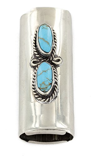 $200Tag Certified Navajo Nickel Silver Natural Turquoise Native Lighter Case 18123 Made by Loma Siiva by Native-Bay (Image #1)