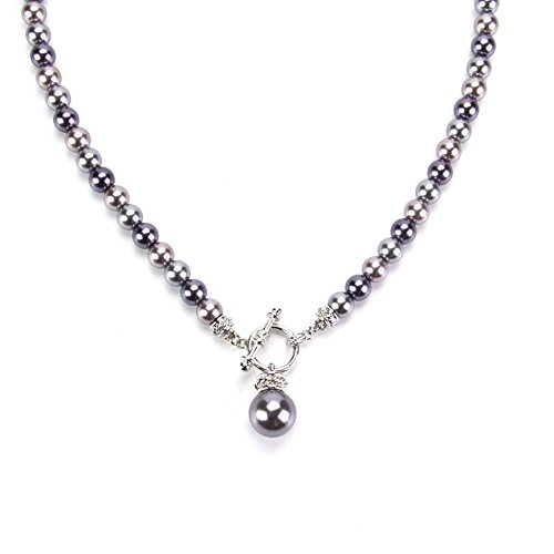 LookLove Womens Jewelry Gray Glass Pearl Necklace 2959 20