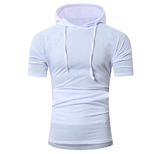 Bluestercool Été Fashion Pull à Capuche T-Shirt à Manches Courtes Pour Hommes Blanc