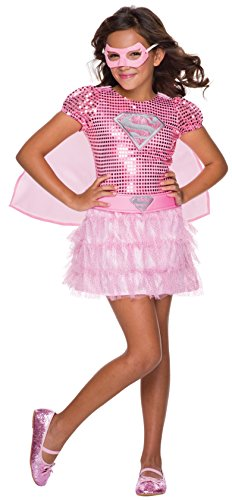 Super Fancy Dress Costumes (Rubie's Costume DC Superheroes Supergirl Pink Sequin Child Costume,)