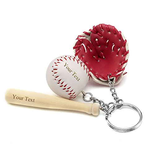 Personalized Adult Wood Baseball Bat - JOVIVI Free Engraving - Personalized Custom 3 In 1 Novelty Basketball & Wooden Bat & Glove Charm Keychain