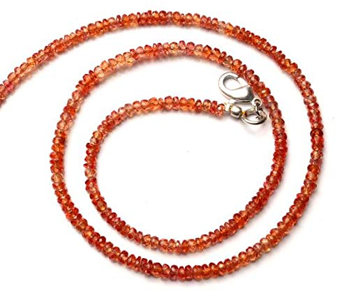 (GemAbyss Beads Gemstone 1 Strand Natural Songea Sapphire 3 to 3.5MM Facet Rondelle Beads 16 Inch Long Long Code-MVG-11423)