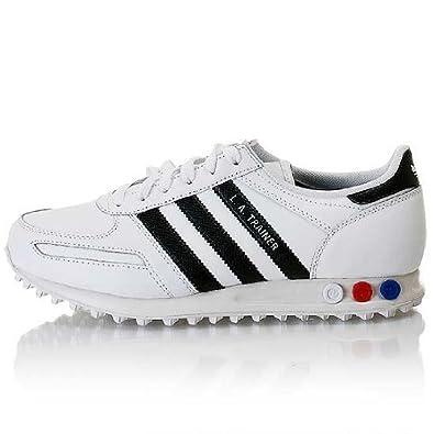 finest selection 6d12e 42bc0 Adidas Originals La Trainer Chaussures En Cuir Baskerts Sneakers Homme En Blanc  Blanc 40