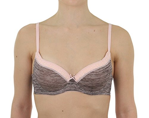 Catherine Malandrino Womens Underwire Marled Lace Edge Demi Cup T-Shirt Bra Rosewater Pink 34C