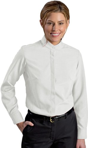 Edwards Ladies' Batiste Banded Collar Shirt Large White (Women For Banded Collar Shirts)