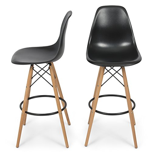Belleze Set of Two (2) Mid Century Chair Style DSW Bar Stool Modern Barstool Counter w/Natural Legs Wood -Black