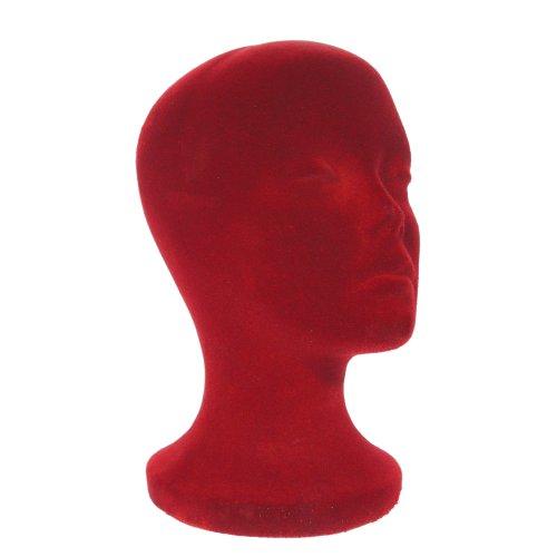 "A1Pacific 11"" BURGUNDY Velvet like STYROFOAM FOAM MANNEQUIN MANIKIN head wig display hat glasses"